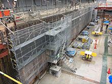 病院新設基礎擁壁足場