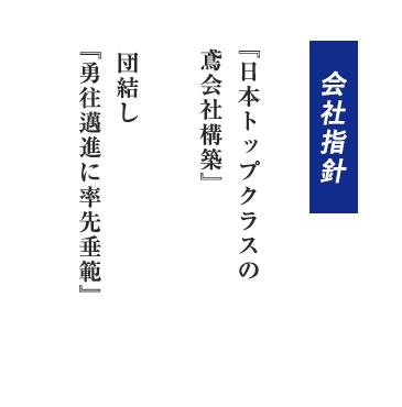 『日本トップクラスの鳶会社構築』 団結し『勇往邁進に率先垂範』